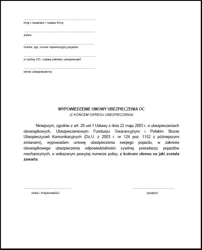 Jak Wypowiedzieć Umowę Oc Wzór Ocpd24